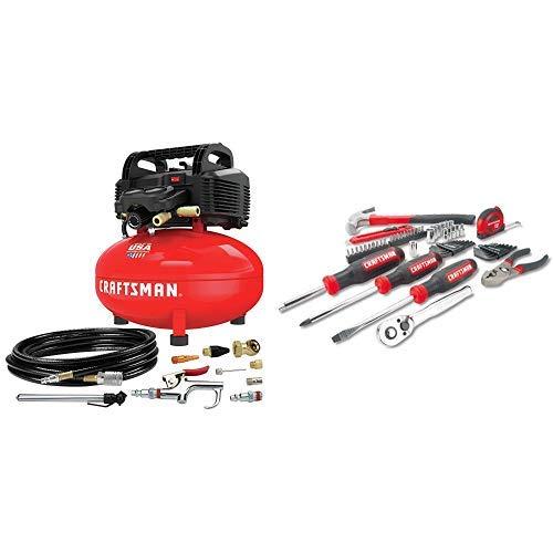 CRAFTSMAN Air Compressor 6 gallon Oil-Free Kit with Mechanics Tools KitSocket Set 57-Piece CMEC6150K CMMT99446