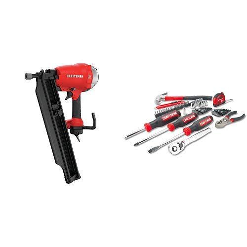 CRAFTSMAN Framing Nail Gun 21 Degree with Mechanics Tools KitSocket Set 57-Piece CMP21PL CMMT99446