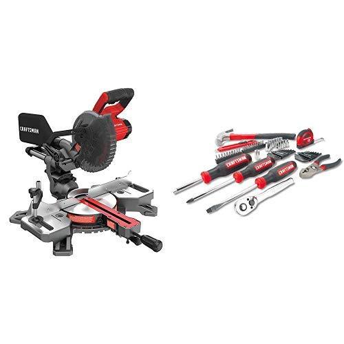 CRAFTSMAN V20 7-14-Inch Sliding Miter Saw Kit with Mechanics Tools KitSocket Set 57-Piece CMCS714M1 CMMT99446