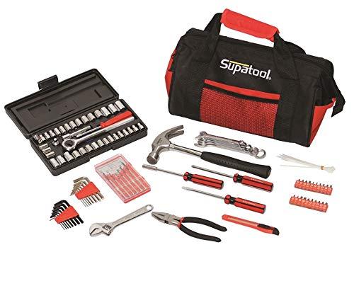 Supatool Tool Bag - SAE Metric Mechanic Tool Kit Home Handyman Starter Tool Set - 105 Piece