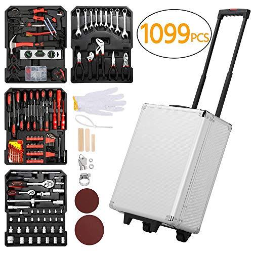 Yaheetech Sturdy 1099pcs Tool Box with Tools and Wheels Aluminium tool Chest Box Household Tool Kit Set Case Mechanics Tool Kit Box Organizer