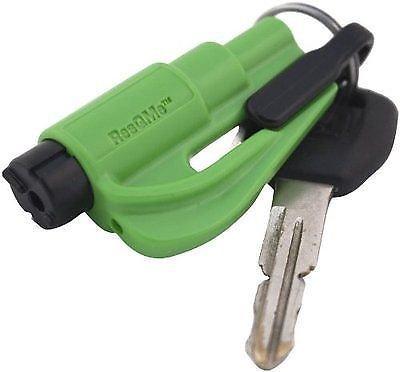 New Kit Resqme Seatbelt Cutter Emergency Survival Window Glass Breaker Keychain Tool Green