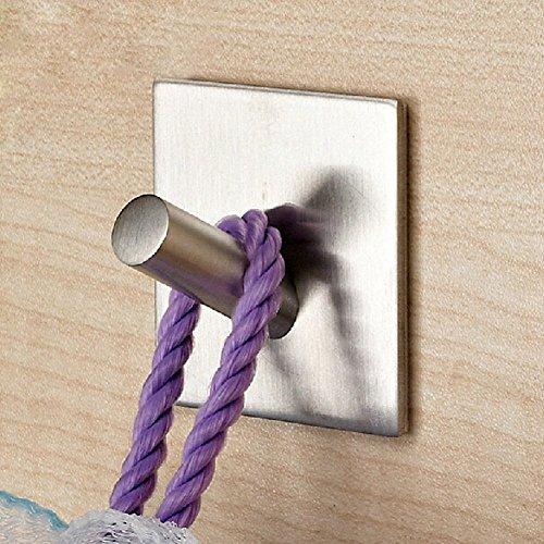 Leyden TM SUS 304 Stainless Steel 3M Self Adhesive Hook Key Rack Garage Bathroom Kitchen Towel Hanger Brushed Finish