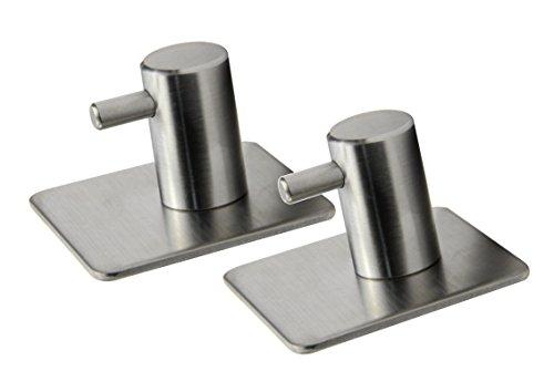Obecome 304 Brushed Stainless Steel Towel Hook Bathroom Towel Hook Coat Hook 3M Self Adhesive Hookset of 2