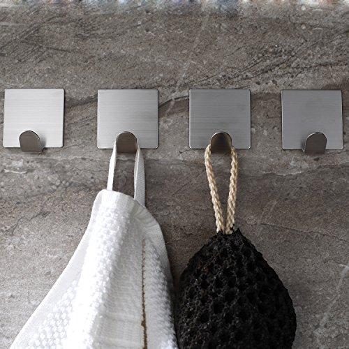 YIGII SUS 304 Stainless Steel 3M Self Adhesive Hooks Bathroom Kitchen Towel Robe Hook Pack of 4
