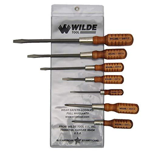 Wilde Tool SW7 Wooden Handle Mix Screwdriver Set 7-Piece