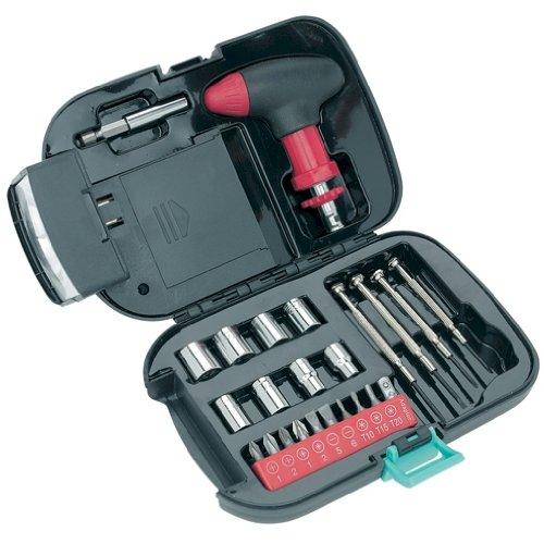 25 Piece Tool Set - Case with Built-in Spotlight - Pistol-grip Ratchet Driver - Driver Extension - Sockets - Screwdrivers