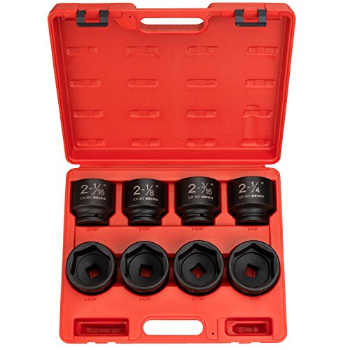Neiko 02392A 34-Inch Drive Shallow Impact Socket Set Cr-Mo Steel  8-Piece Jumbo Size Set  SAE 2-116 to 2-12
