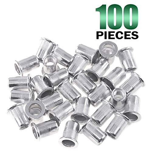 Keadic 100Pcs M8 Metric Rivet Nuts Aluminum Flat Head Threaded Insert Nutserts for Automotive Furniture Decoration