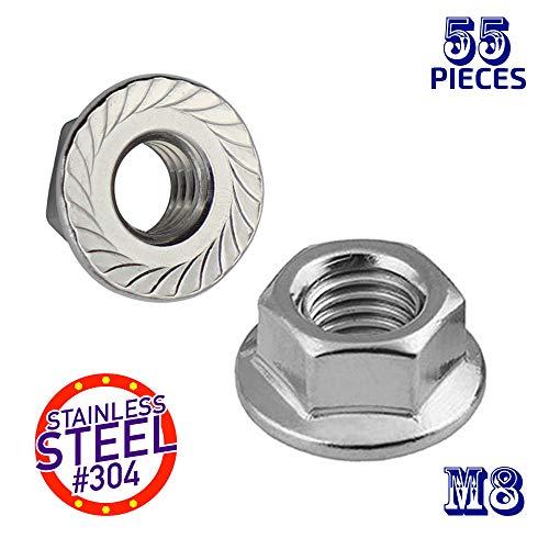 SBest 55Pcs M8 304 Stainless Steel Serrated Metric Flange Nuts Hex Lock NutsHex Serrated Flange Nut Assortment Kit M8-55Pcs