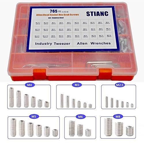 STIANC 765Pcs M25M3M4M5M6M8 Metric Stainless Allen Head Socket Hex Set Screw Bolt Assortment Kit with Allen Key and Tweezer Hex Grub Screws Sets