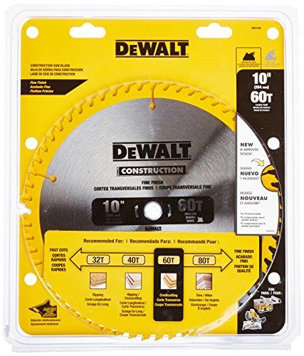 DEWALT 10-Inch Miter  Table Saw Blade ATB Thin Kerf Crosscutting 58-Inch Arbor 60-Tooth DW3106