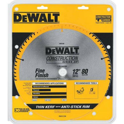 DEWALT 12-Inch Miter Saw Blade ATB Thin Kerf Crosscutting  1-Inch Arbor 80-Tooth DW3128
