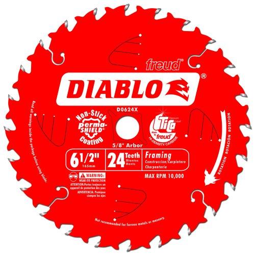 Freud D0624X Diablo 6-12-Inch 24-Tooth ATB Framing Saw Blade with 58-Inch Arbor