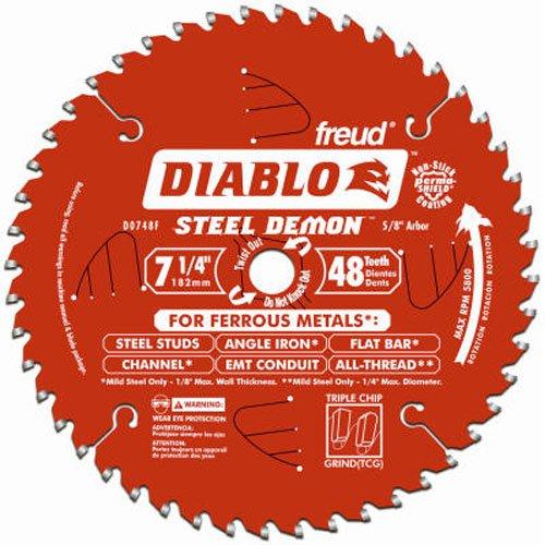 Freud Diablo DO748F Diablo Steel Demon 7 14 Inch 48-Tooth Titanium Carbide TCG Ferrous Metal Cutting Circular Saw Blade w Perma Shield Non-Stick Coating and Laser Cut Stabilizing Vents