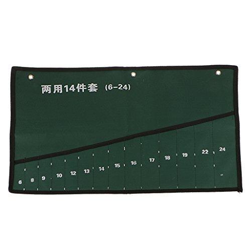 14-Pocket Hardware Tool Screwdriver Spanner Roll Up Storage Case Pouch Bag