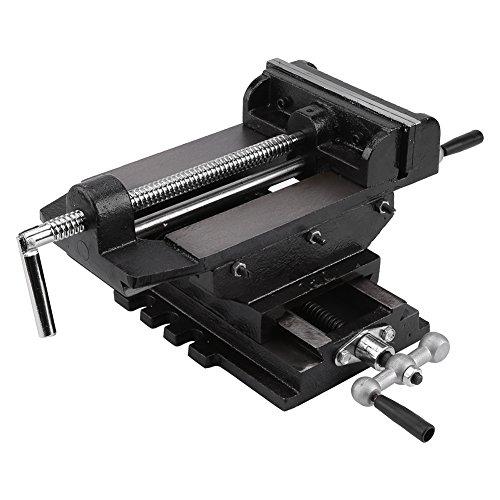 Liusin 6-Inch Drill Press Vise Cross Slide Jaw Width Metal Milling Heavy Duty Clamp Machine Bench Mount