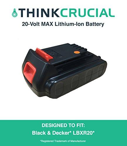 Durable Black Decker LBXR20 20-Volt MAX Extended Run Time Cordless Tool Battery Fits All Black Decker 20 Volt Max lithium Ion Cordless Tools by Think Crucial