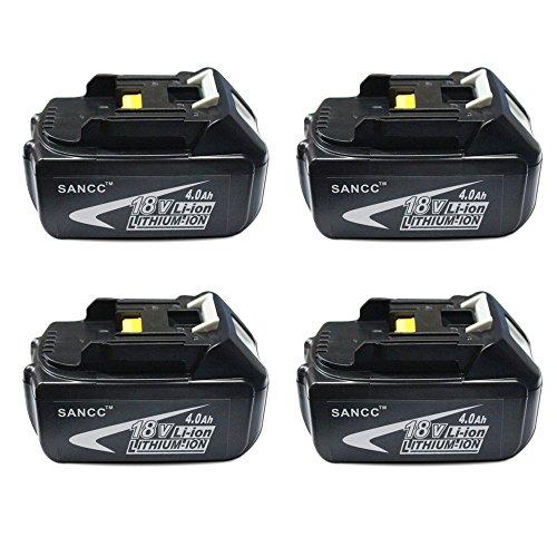 Makita 18V Battery SANCC 18-Volt 40 ah LXT Lithium-Ion Battery for Makita BL1850 BL1840 BL1830 LXT-400 194204-5 Cordless Power Tools 4Pack