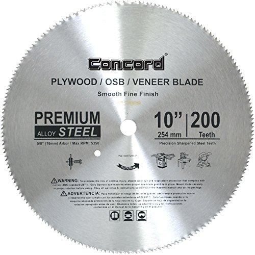 Concord Blades PLY1000T200HP 10-Inch 200 Teeth Plywood Steel Saw Blade