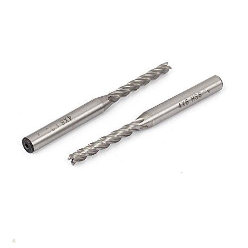 uxcell 4mmx6mm HSS 4-Flute Straight Shank End Mill Cutter CNC Drill Bits 2pcs