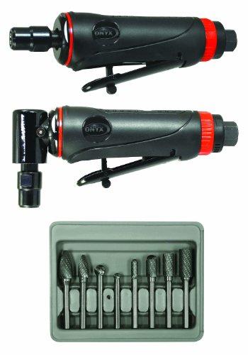 Astro Pneumatic Tool 219 ONYX 3pc Die Grinder Kit w 90° Die Grinder Die Grinder 8pc Double Cut Carbide Rotary Burr Set