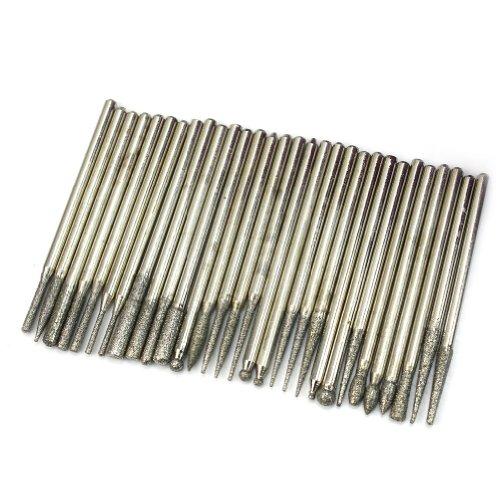 30x Diamond Burr Bits Drill For Engraving Dremel Rotary Tool Set 23mm Shanks