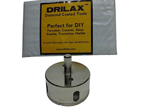 Drilax 2-34 inch Diamond Drill Bit Hole Saw Kitchen Bathroom Shower Drain Drilling Tool Ceramic Porcelain Tiles Glass Fish Tanks Marble Granite Quartz Diamond Coated Holesaw 275 or 2 34 inches
