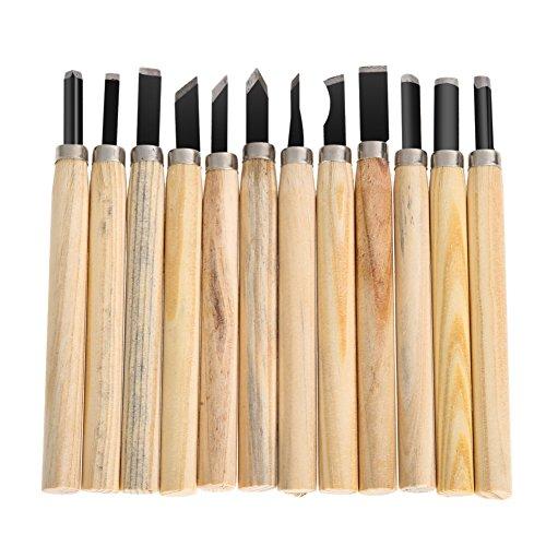Whitelotous 12pcs Set DIY Tools Hand Wood Carving Chisels Knife for Basic Woodcut