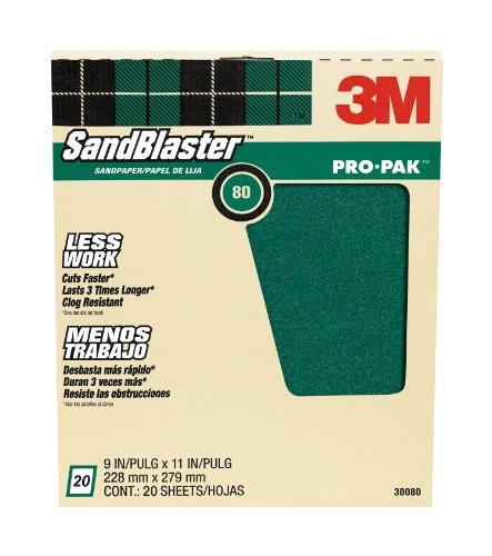 3M SandBlaster Pro-Pak Paint Stripping Sandpaper 80-Grit 9-Inch by 11-Inch 20-Sheet