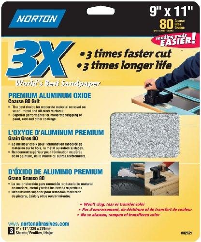 Norton 02621 3X Handy Aluminum-Oxide Sandpaper 80 Grit 9-Inch x 11-Inch 3-Pack