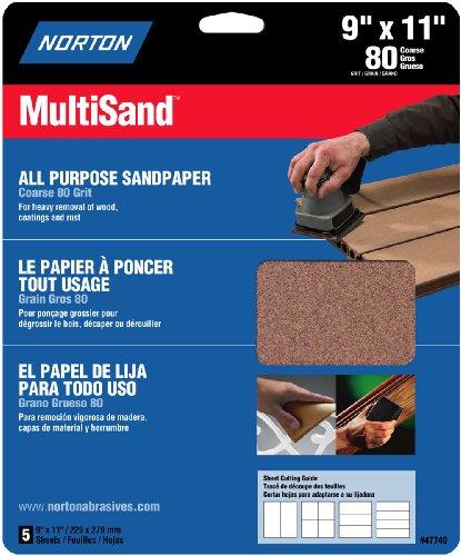 Norton 47740 Multisand Sandpaper 80 Grit 9-Inch x 11-Inch 5-Pack