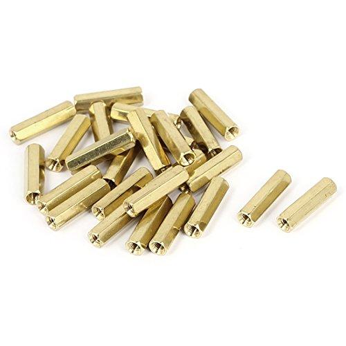 M3 x 18mm Female Threaded Brass Hex Standoff Pillar Spacer Nut 25pcs