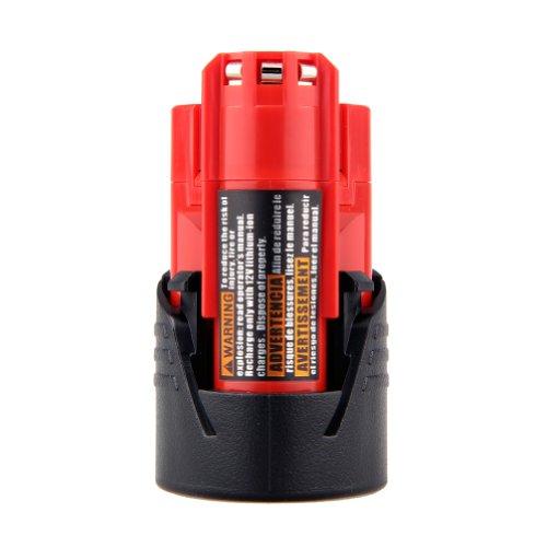 TOPCHANCES Replacement MILWAUKEE 12V 2000mAh Ni-CD MILWAUKEE Power Tool Battery with Free Glove for MILWAUKEE 48-11-0140 48-11-0141 48-11-0200 48-11-0251 12 Volt 20AH Ni-CD-Red