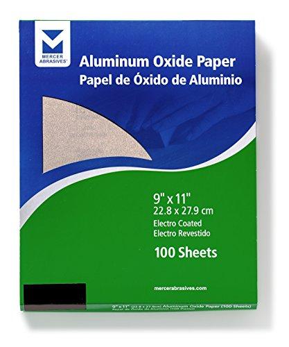 Mercer Industries 202080A Grit 80 A-Weight 9 x 11 Aluminum Oxide Paper Sheets 50-Pack