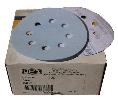 Uneeda Enterprizes Inc M-132319 M-132319 5-Inch x 8 NH No 180 Grit Ekablue Aluminum Oxide Paper Uneevel Hook and Loop Sanding Discs