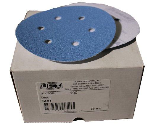 Uneeda Enterprizes Inc M-132998 M-132998 6-Inch x 6 x Hole Vented HV No 180 Grit Ekablue Aluminum Oxide Paper Uneevel Hook and Loop Sanding Discs