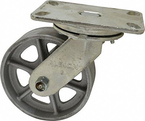 Albion 71CA06227S Heavy Duty Swivel Caster 6 Diameter Cast Iron Wheel Radial Bearing 2 Tread Width 5 L x 4 W Plate 1400 lb Capacity