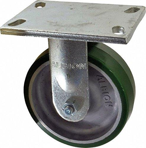 Albion 71PD06227R Heavy Duty Rigid Caster 6 Diameter Polyurethane on Aluminum Wheel Radial Bearing 2 Tread Width 5 L x 4 W Plate 1230 lb Capacity