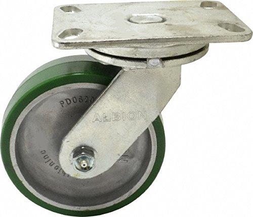 Albion 71PD08227S Heavy Duty Swivel Caster 8 Diameter Polyurethane on Aluminum Wheel Radial Bearing 2 Tread Width 5 L x 4 W Plate 1500 lb Capacity
