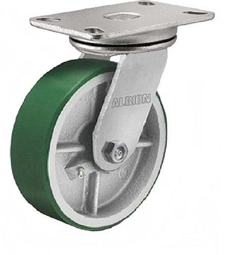 Albion 71PI04227S Heavy Duty Swivel Caster 4 Diameter Polyurethane on Cast Iron Wheel Radial Bearing 2 Tread Width 5 L x 4 W Plate 700 lb Capacity
