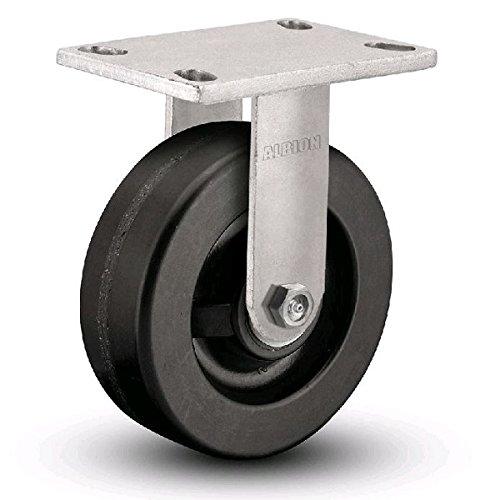 Albion 71TM06227R Heavy Duty Rigid Caster 6 Diameter Phenolic Wheel Radial Bearing 2 Tread Width 5 L x 4 W Plate 1200 lb Capacity