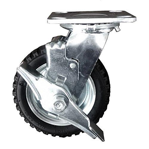 6 Black Pneumatic Tire Swivel Caster Precision Bearings 250 lbs Capacity