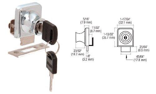 CRL Chrome Plated Lock for 14 Cabinet Glass Doors - Keyed Alike
