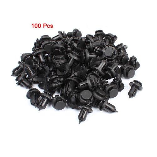 TOOGOOR 100pcs Auto Interior Push in Expanding Screw Plastic Rivets Black for 10mm Hole