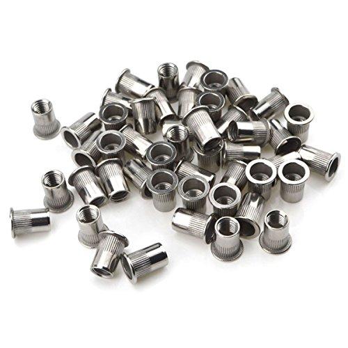 URBEST 304 Stainless Steel Rivet Nut Flat Head Insert Nutsert Knurled Body Blind Rivnut Assortment 50Pcs M10x21mm