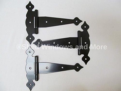 Decorative Fancy T Hinges 8 set of 3 Heavy Duty Steel Shed Door Hinges Storage Shed Door Barn Door Gates