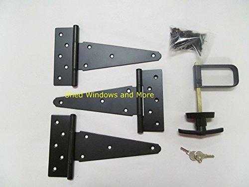 Single Door Hardware Kit 8 Strap T Hinge T Handle Heavy Duty Barrel Bolts Heavy Duty Steel Sheds Barns Gates Horse Stall Garage Shed Hinges