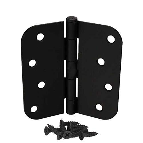 Pack of 12 4 Inch Matte Black Hager Door Hinges with 58 Radius Corners