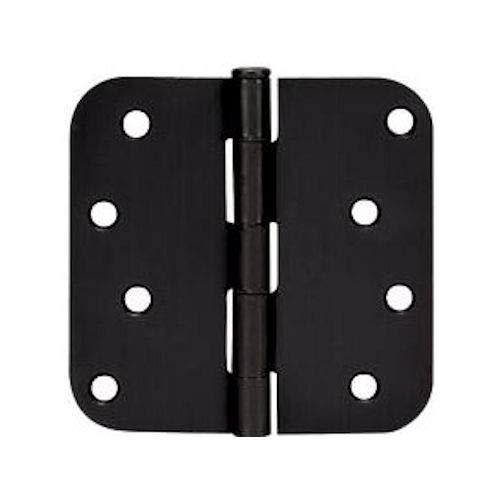 6 Pack - Cosmas Flat Black Door Hinge 4 Inch x 4 Inch with 58 Inch Radius Corners - 44074